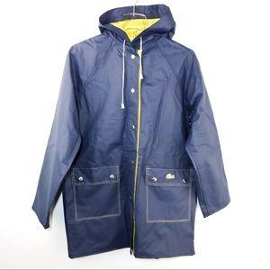 Lacoste Vintage Reversible Rain Coat Jacket Blue